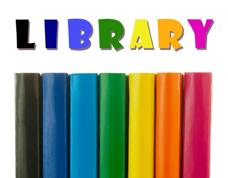 Row of colorful books spines over the white background Stock Photo