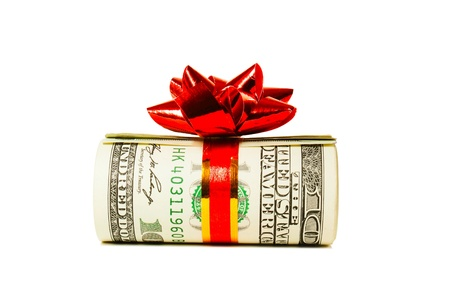 wad: A wad of US one hundred dollar bills tied up with red ribbon over white background Stock Photo