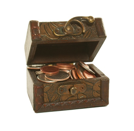 Brown box full of coins isolated on white