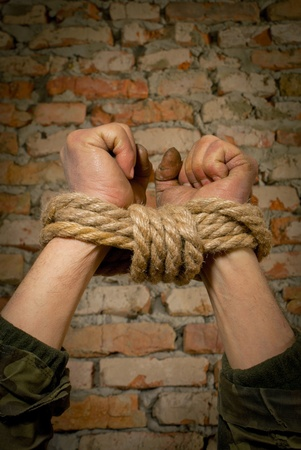 Hands tied up with rope against brick wall Stock Photo - 12520217
