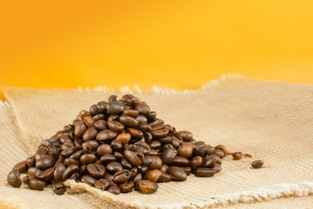 Heap of the roasted coffee beans