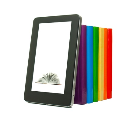 Row of colorful books and tablet PC over white background Stock Photo - 12831630
