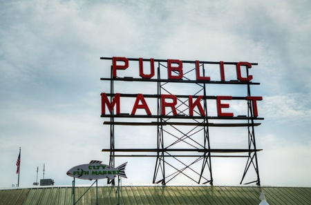 pike place market sign: Seattle, United States - May 20, 2012: Famous Pike Place Public Market sign in Seattle, Washington, USA