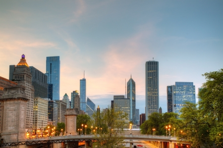 Cityscape of  Chicago in the evening light photo