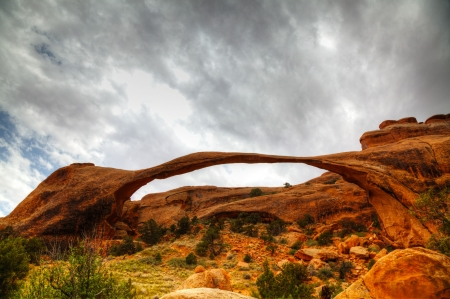 arches national park: Landscape Arch in Arches National Park, Utah against cloudy sky