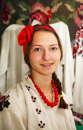 traditional culture: Teen girl wearing Ukrainian national costume
