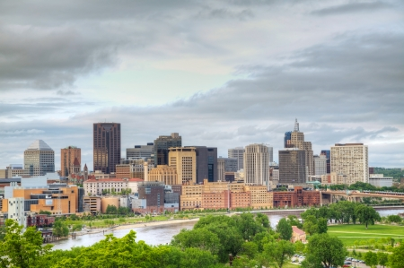 minnesota: Downtown St. Paul, MN and Mississippi river