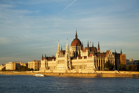 Hungarian Parliament building in Budapest, Hungary at sunset