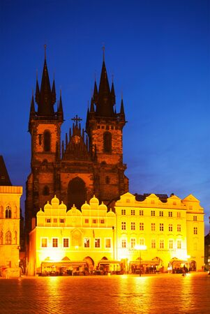 our: Church of Our Lady before Tyn at night time