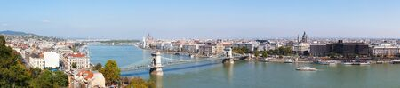 Panoramic overview of Budapest, Hungary on sunny day
