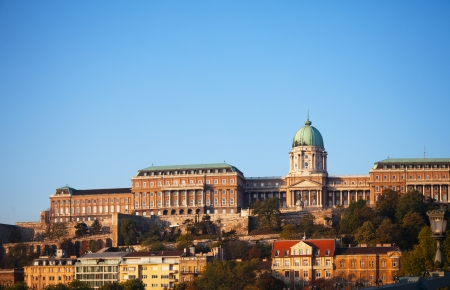 Buda Royal castle in Budapest, Hungary in the morning sunlight Redactioneel