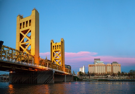 Golden Gates drawbridge in Sacramento in the night time photo