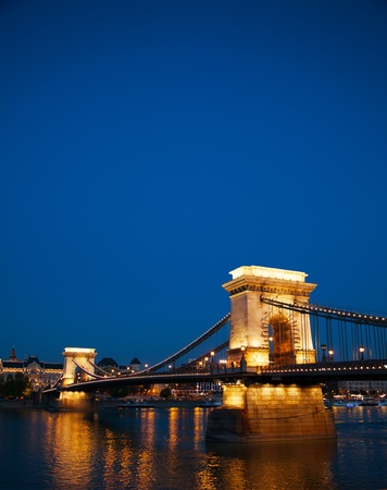 szechenyi: Szechenyi chain bridge in Budapest, Hungary at the night time