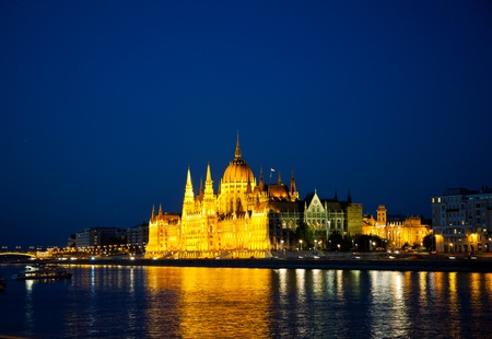 Hungarian Houses of Parliament in Budapest at the night time