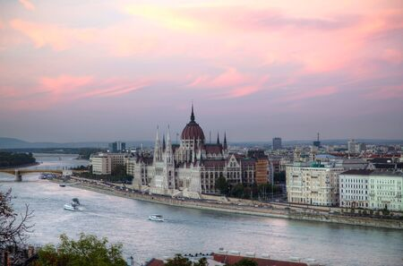 Hungarian Houses of Parliament in Budapest in the evening