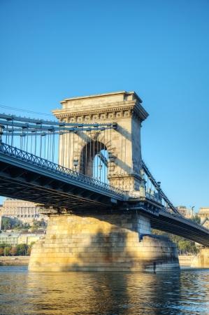 szechenyi: Szechenyi suspension bridge in Budapest, Hungary in the morning time Stock Photo
