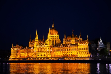 Hungarian Parliament building in Budapest at the night time