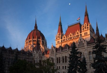 Hungarian Parliament building in Budapest in the early morning