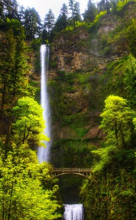 oregon cascades: Multnomah falls, Oregon and bridge in the morning sun light