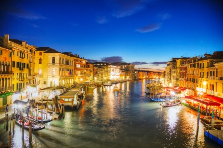 Venice at night time as seen from Rialto bridge