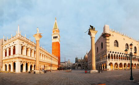 Panoramic view to San Marco square in Venice, Italy early in the morning photo
