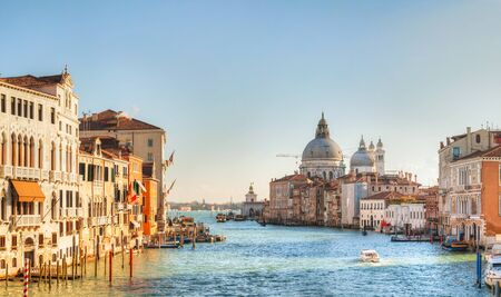 Panoramic view to Basilica Di Santa Maria della Salute on a sunny day