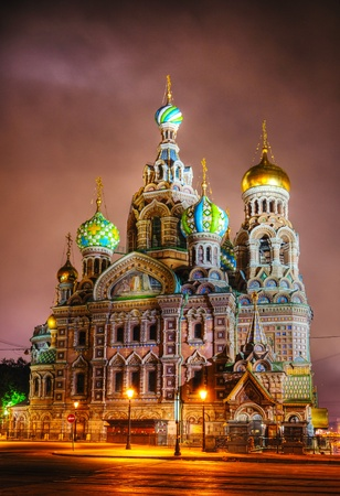 russian church: Savior on Blood Cathedral (Church of the Resurrection of Jesus Christ) in St. Petersburg, Russia in the night time