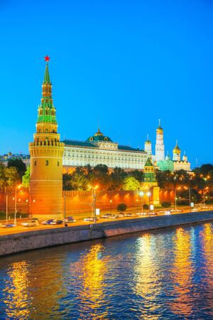 Overview of downtown Moscow with Krenlin at night time photo