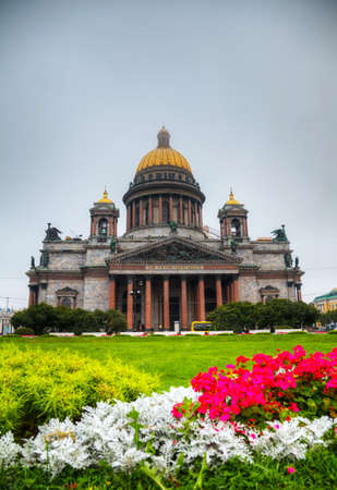 sobor: Saint Isaacs Cathedral (Isaakievskiy Sobor) in Saint Petersburg, Russia in the morning Stock Photo