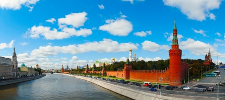 Panoramic overview of downtown Moscow with Kremlin on a sunny day photo