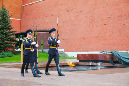 MOSCOW - AUGUST 30  Guards of honor at the Eternal flame on August 30, 2012 in Moscow, Russia  A primary role for honor guards is to provide funeral honors for fallen comrades and to guard national monuments  Stock Photo - 17465512