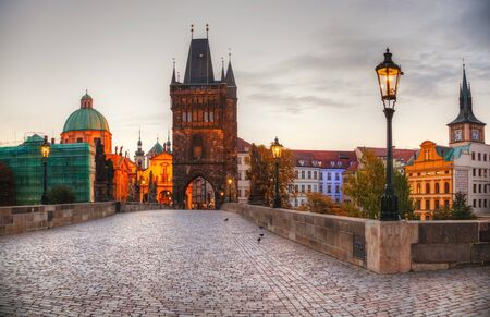 Charles bridge in Prague, Czech Republic early in the morning Banco de Imagens - 17621638