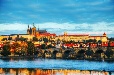 Overview of old Prague with Charles bridge at sunset 版權商用圖片