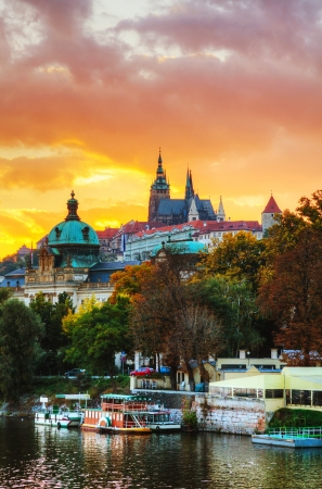 historical reflections: Overview of old Prague at sunset
