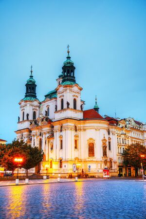 nicolas: St. Nicolas church at Old Town square in Prague early in the morning Stock Photo