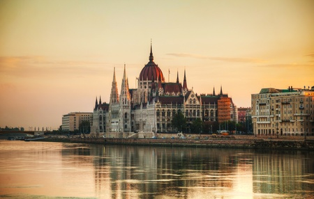 Hungarian Parliament building in Budapest at sunrise