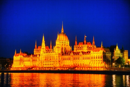Hungarian Parliament building in Budapest at night time