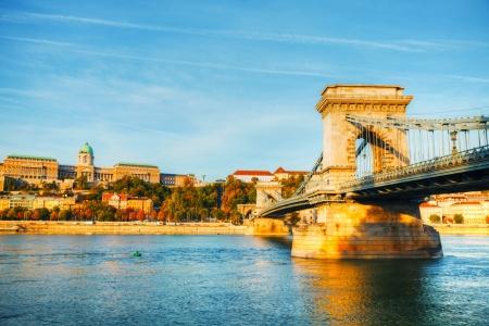Szechenyi chain bridge in Budapest, Hungary in the morning