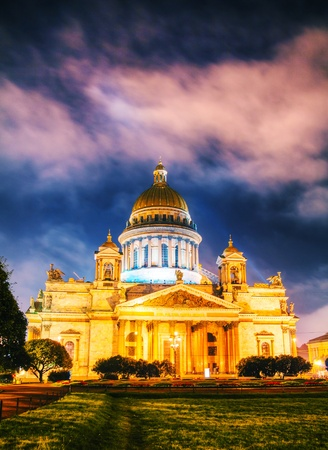 Saint Isaacs Cathedral (Isaakievskiy Sobor) in Saint Petersburg, Russia in the night photo