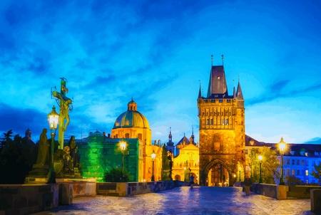 カレル橋、プラハ、チェコ共和国で、早朝から  イラスト・ベクター素材