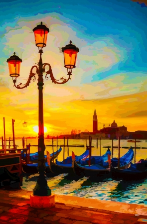 Gondolas floating in the Grand Canal at sunrise Çizim