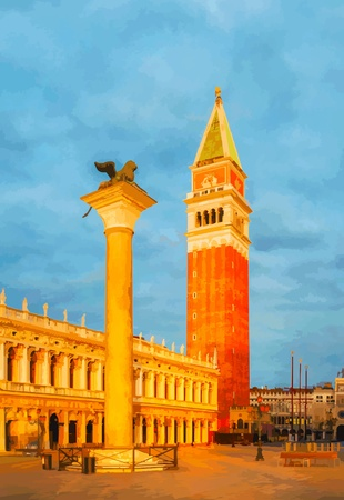 bell tower: San Marco square in Venice, Italy early in the morning Illustration