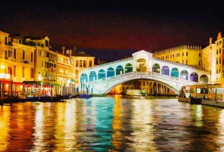 夜の時間で、ヴェネツィアのリアルト橋 Ponte Di Rialto  イラスト・ベクター素材
