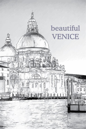 Basilica di Santa Maria della Salute bij zonsopgang Stock Illustratie