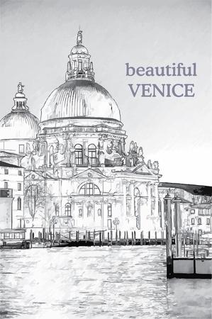 kopule: Basilica di Santa Maria della Salute při východu slunce Ilustrace
