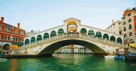 venice: Rialto Bridge  Ponte Di Rialto  in the evening Illustration