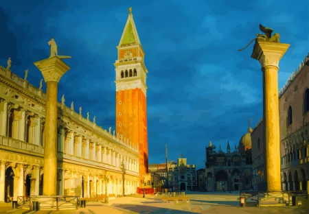 San Marco square in Venice, Italy early in the morning Çizim
