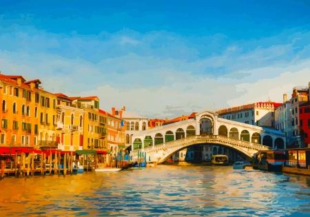 venice italy: Rialto Bridge  Ponte Di Rialto  in Venice, Italy