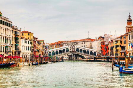 rialto: Rialto Bridge (Ponte Di Rialto) in Venice, Italy on a cloudy day