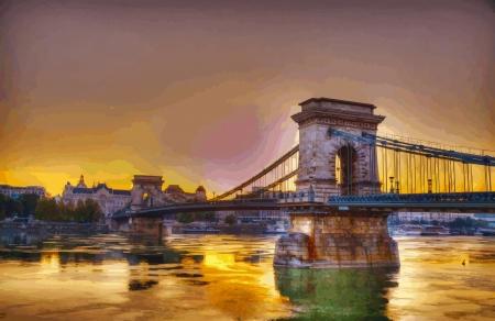 Szechenyi chain bridge in Budapest, Hungary Иллюстрация